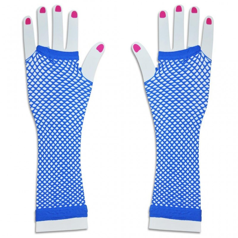 Long Fishnet Gloves Party Fancy Dress Tutu (Blue)